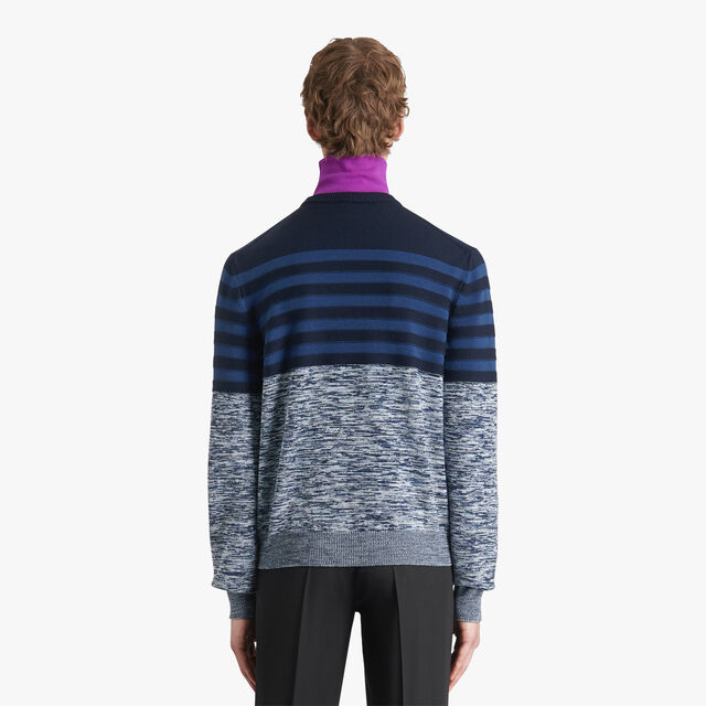 Striped Mouline Sweater, MEDITERRANEAN BLUE, hi-res