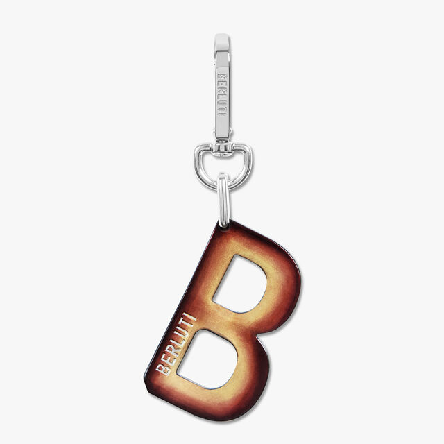 B Logo Leather Key Ring, BROWN METAL, hi-res