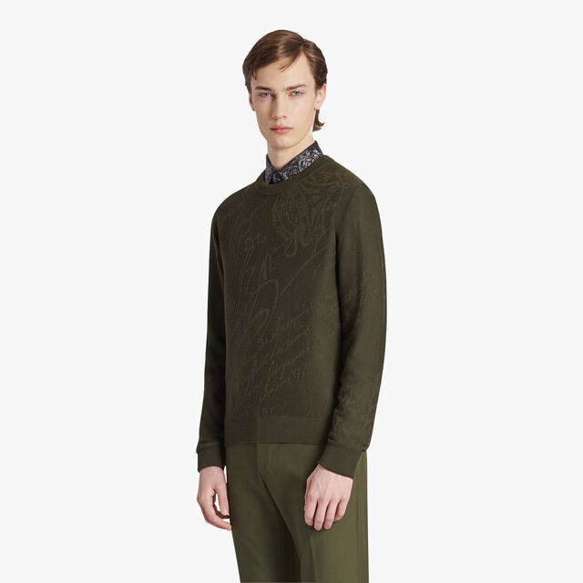 Wool Scritto Sweater, FOREST GREEN, hi-res