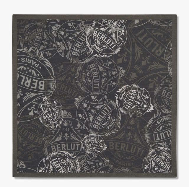 Printed Crest Handkerchief, NOIR, hi-res
