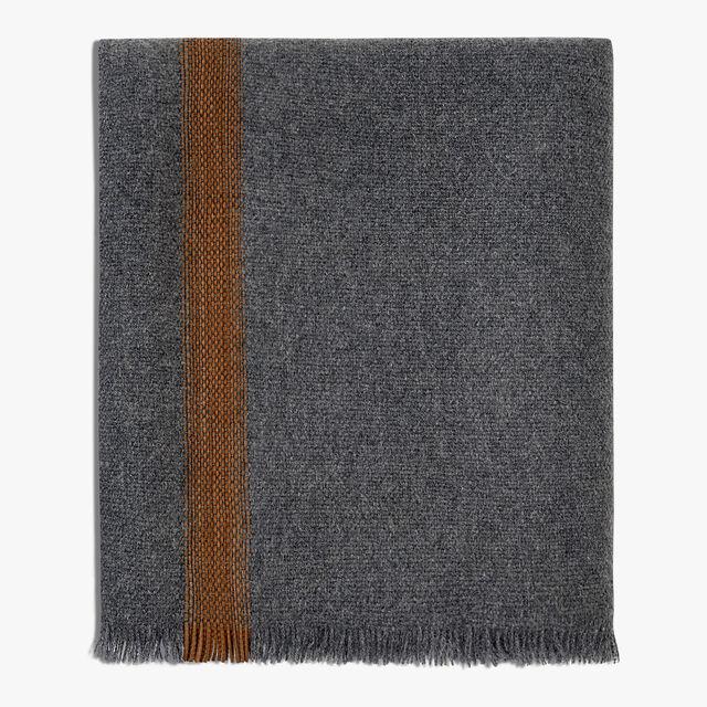 Cashmere & Leather Scarf, DARK GREY, hi-res