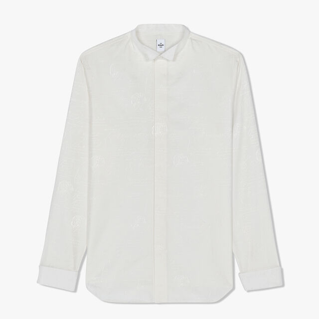 Slim-Fit Scritto Evening Cotton Shirt, BLANC OPTIQUE, hi-res
