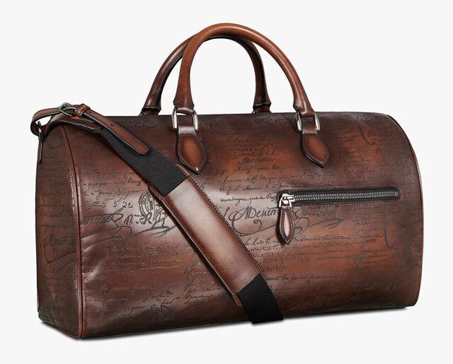 Jour Off Medium Scritto Leather Travel Bag, MOGANO, hi-res