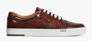 Playtime Palermo Engraved Calf Leather Sneaker, MOGANO, hi-res