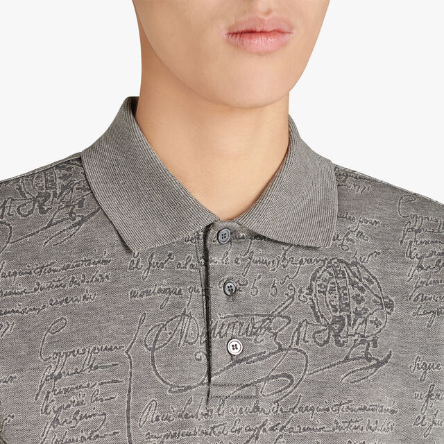 Regular Fit Short Sleeves Jacquard Scritto Polo Shirt, PLATINUM, hi-res
