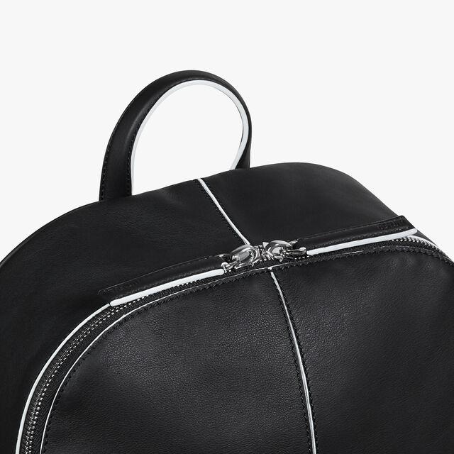 Volume Medium Leather Backpack, BLACK WHITE, hi-res
