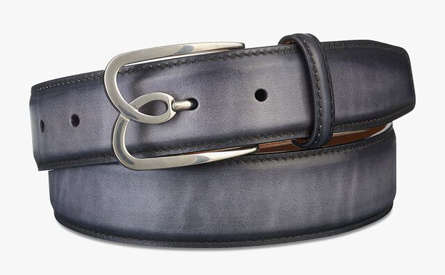 B Volute Leather Belt - 35 mm, NERO GRIGIO, hi-res