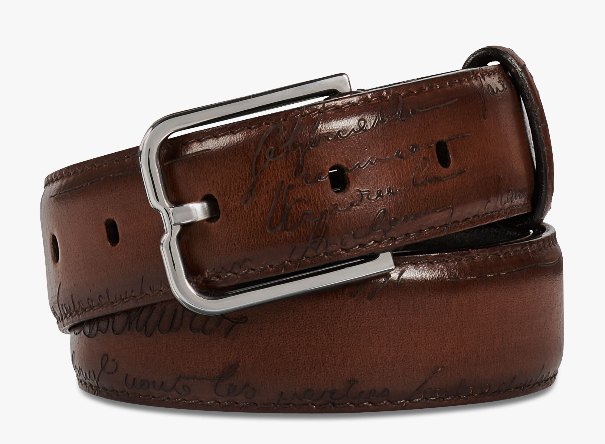 Essence Full Engraved Venezia Calf Leather Belt - 32 mm, MOGANO, hi-res