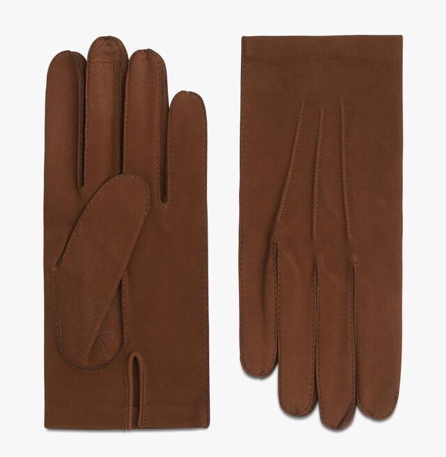 Nubuck Lamb Leather Scritto Gloves, CAMEL, hi-res