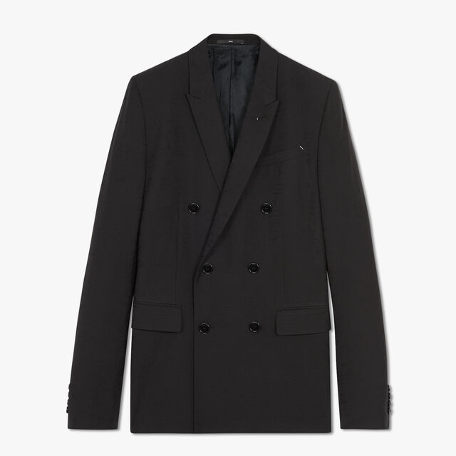 Jacquard Scritto Double Breasted Virgin Wool Jacket