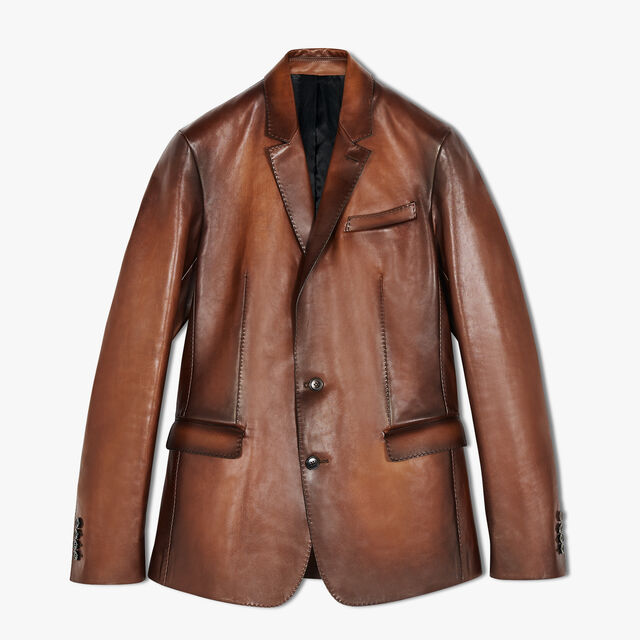 Patina Lined Leather Jacket, BRUN, hi-res