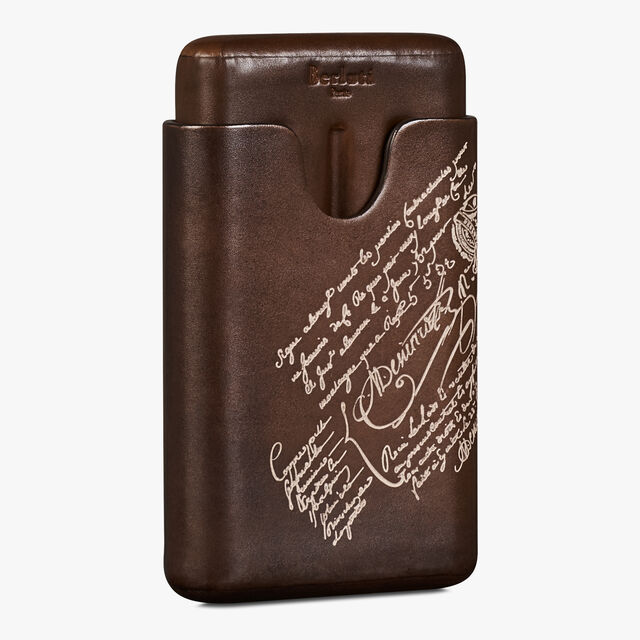 Scritto Leather Four-Cigar Case, BRUN+IVORY, hi-res