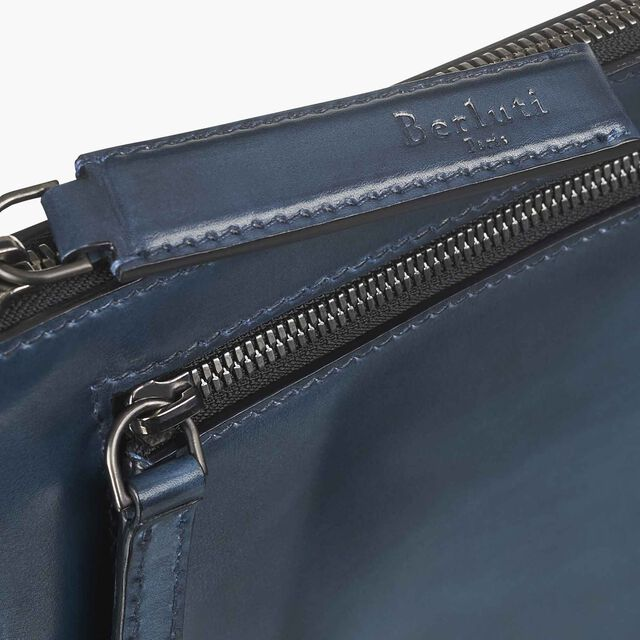 Band Calf Leather Clutch, PETROL BIS, hi-res