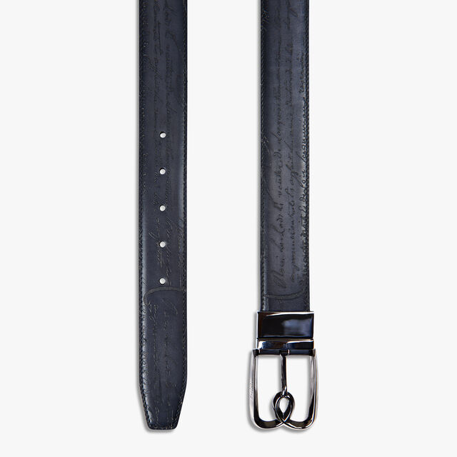 B Volute Reversible Scritto Leather Belt - 35 mm, TOBACCO BIS & NERO, hi-res
