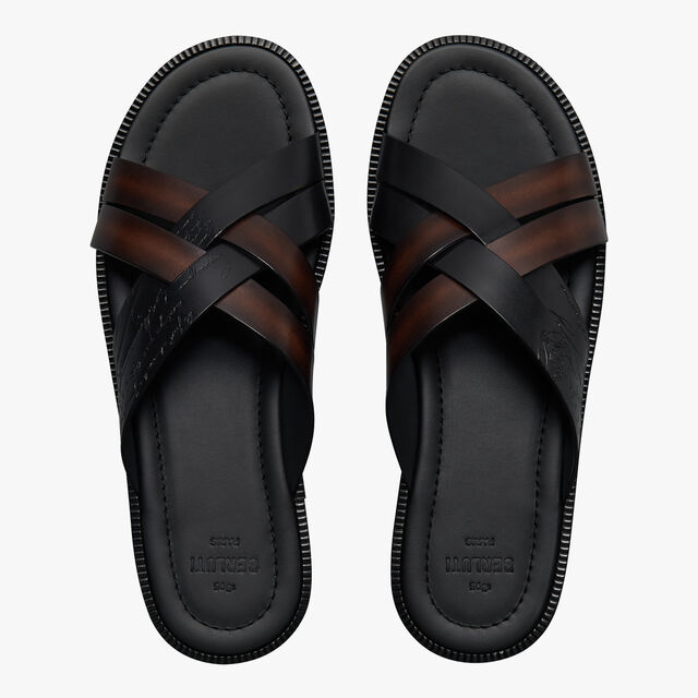 Sifnos Scritto Leather Sandal With Braid Detail, BLACK + TDM INTENSO, hi-res