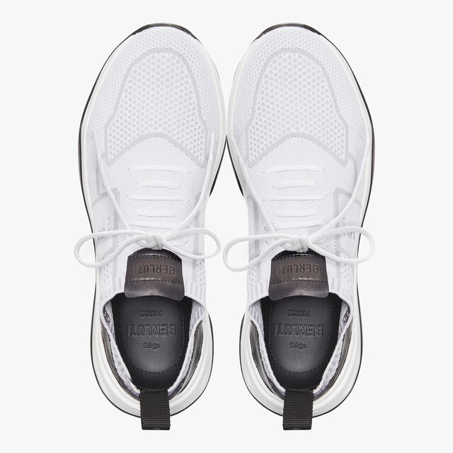 Shadow Knit Sneaker With Leather Details, WHITE, hi-res
