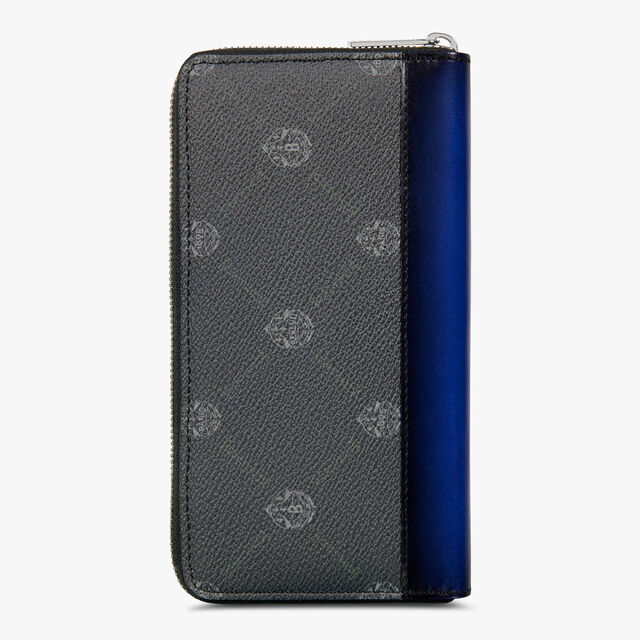Itauba Canvas And Leather Long Zipped Wallet, BLACK + UTOPIA BLUE, hi-res