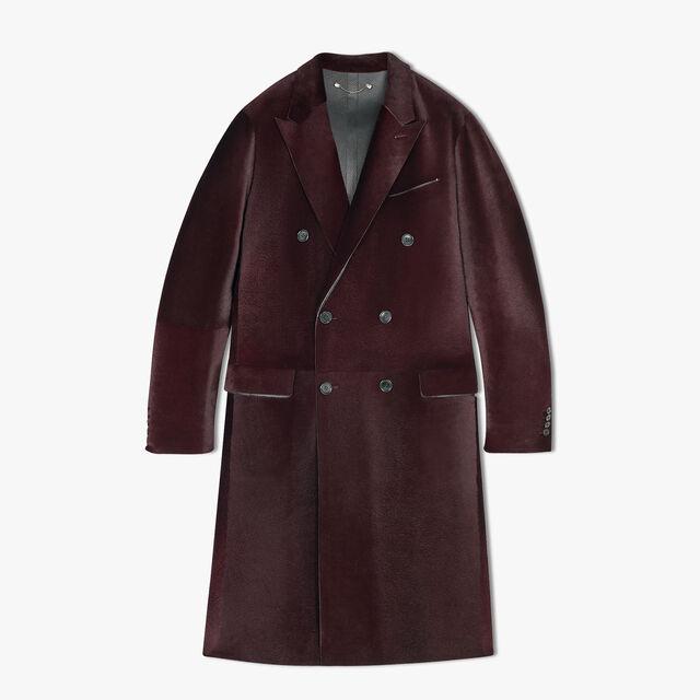 Long Double Breasted Kangaroo Leather Coat, NERO BORDO, hi-res