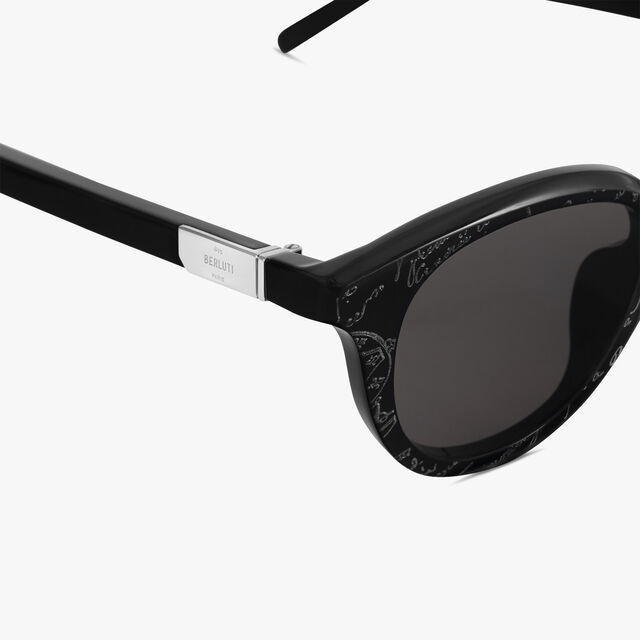 Halo Round Shape Acetate Sunglasses, BLACK+SOLID SMOKE, hi-res