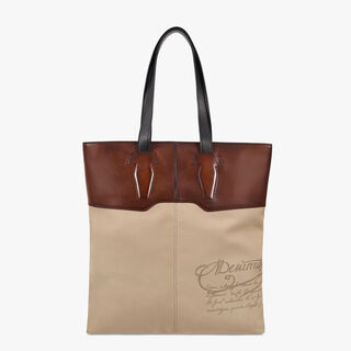 Shadow Canvas & Leather Tote, BEIGE, hi-res