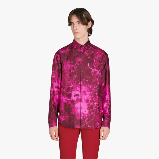 Marble Printed Silk Shirt, MARBLE NERO BORDO, hi-res