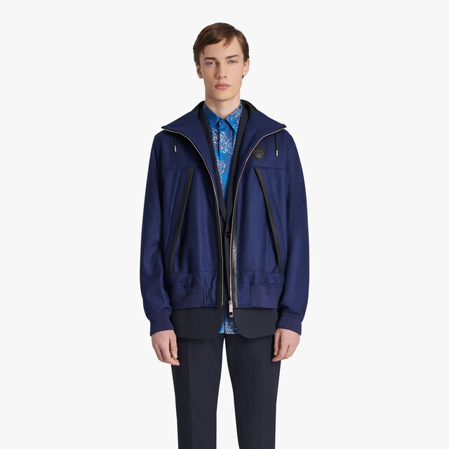 Wool And Cashmere B-way With Leather Details, SPACE BLUE, hi-res