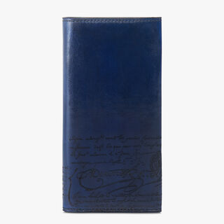 Espace Yen Engraved Calf Leather Wallet, BLU PROFONDO, hi-res
