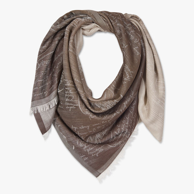 Wool And Silk Patina Scritto Scarf, ECRU, hi-res