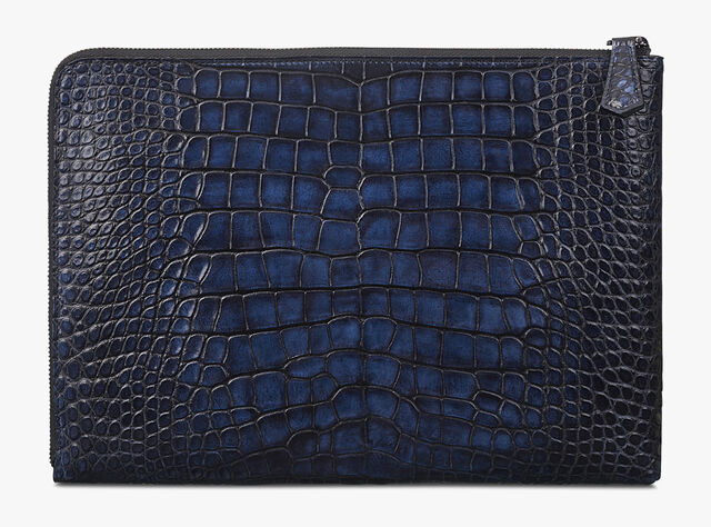 Nino Small Alligator Leather Document Holder, NERO BLU, hi-res