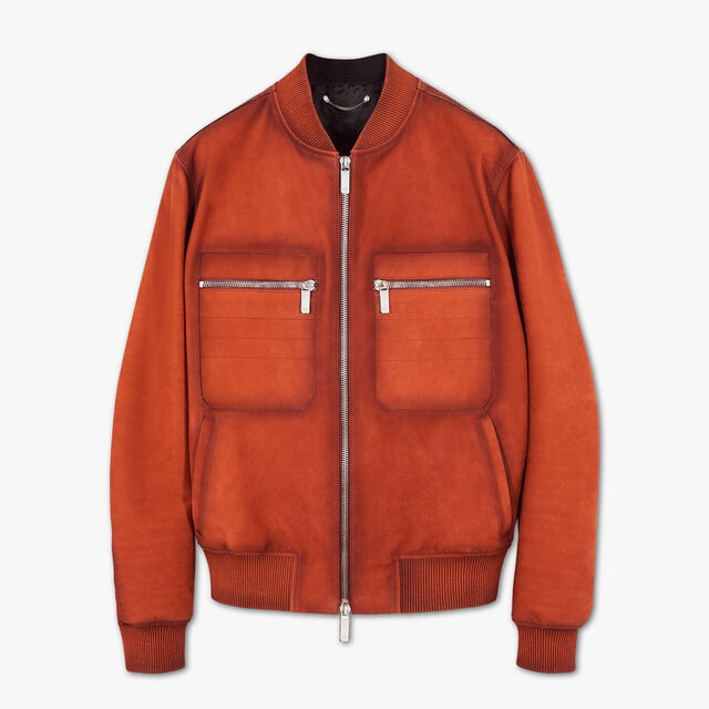 Nubuck Leather Bomber With Patina Effect, TERRACOTTA, hi-res
