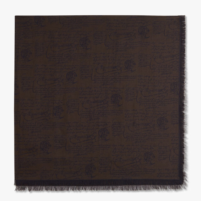 Jacquard Scritto Cotton Scarf, EQUINOX BROWN, hi-res