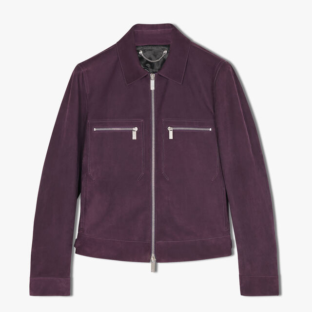 Blouson Ajusté En Veau Velours, MAGIC PURPLE, hi-res