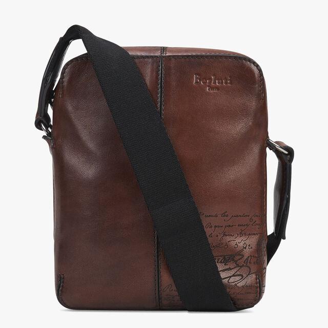 Monolithe Epure Small Scritto Leather Messenger Bag, MOGANO, hi-res