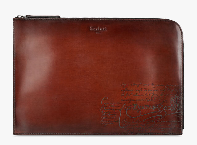 Nino Large Scritto Leather Document Holder, MOGANO, hi-res