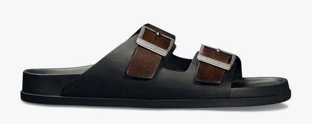 Sandale Egio En Cuir De Veau Scritto, BRUN, hi-res