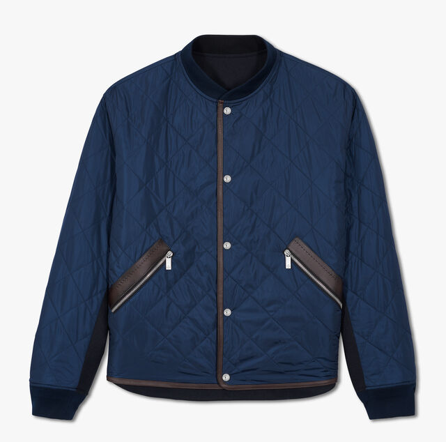 Reversible Nylon And Wool Quilted Bomber, BLUE WINTER NIGHT, hi-res