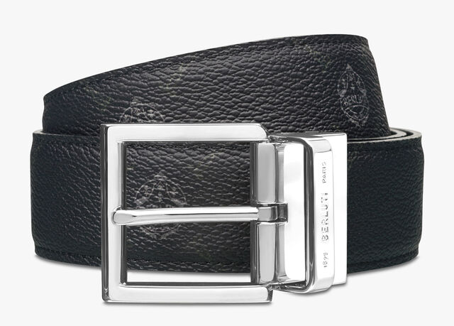 Signature 帆布镶 Venezia皮革皮带 - 35毫米, UTOPIA BLUE + BLACK, hi-res