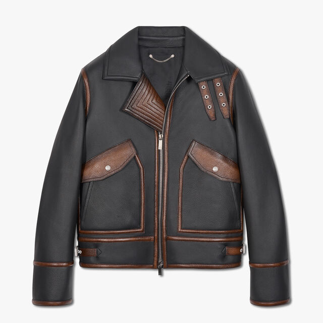 Leather Blouson With Patina Details, NOIR, hi-res