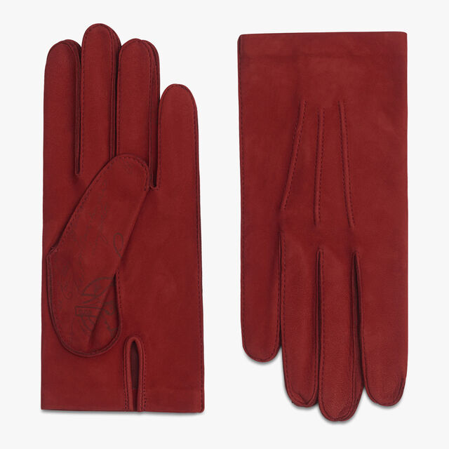 Nubuck Lamb Leather Scritto Gloves, RED, hi-res