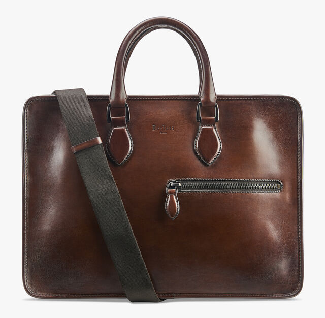 Un Jour Medium Leather Briefcase, MOGANO, hi-res