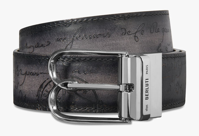 Venezia Scritto Leather 35 MM Belt, MOGANO + NERO GRIGIO, hi-res