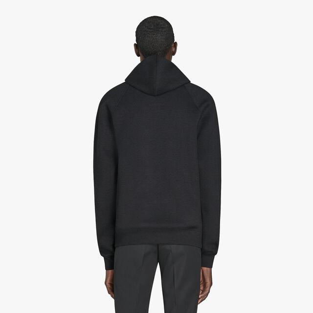 有皮革装饰的连帽汗布运动衫, NOIR/DARK LEAD, hi-res