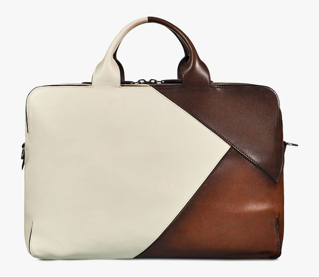 Cube Patchwork Calf Leather Travel Bag, BRUN+IVORY, hi-res