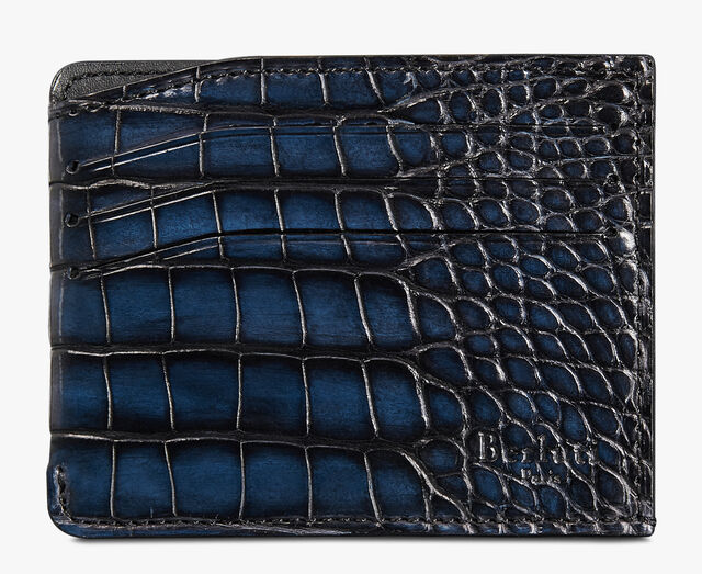 Bambou Epure Alligator Leather Card Holder, NERO BLU, hi-res
