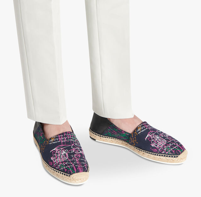 Iban Scritto Canvas Espadrille, NAVY MULTICO, hi-res