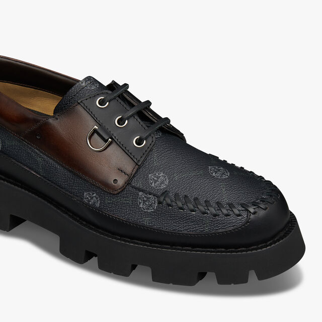 Twist Leather and Signature Canvas Boat Shoe, BLACK+TDM INTENSO, hi-res