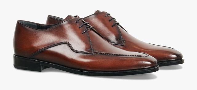 Asymetrique Démesure Calf Leather Derby, BRUN, hi-res