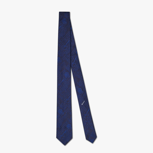 6 cm Scritto Silk Tie, ULTRAMARINE, hi-res