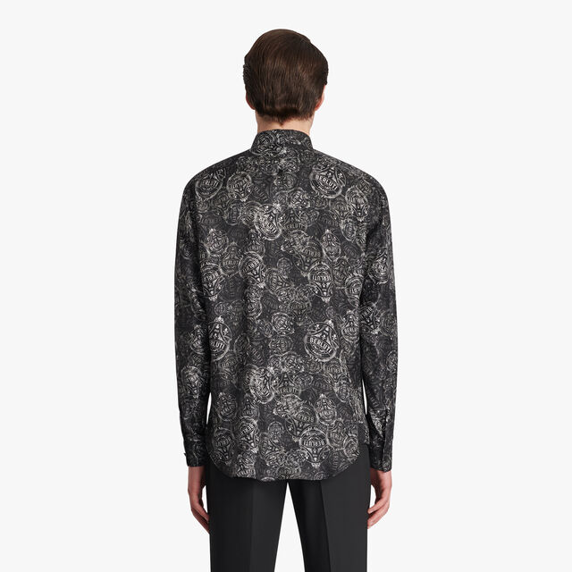 Printed Silk Shirt, NOIR, hi-res