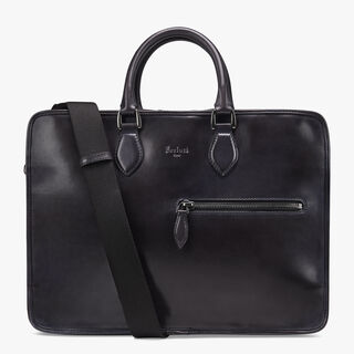 Deux Jours Leather Briefcase, DEEP BLACK, hi-res